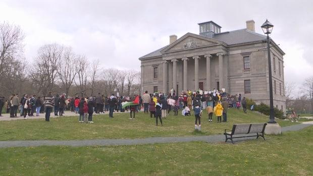 About 200 people attended a pro-Palestinian rally outsidethe Colonial Building in St. John's on Sunday.