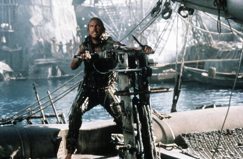 Costner's Mariner on his Trimaran in 'Waterworld' (Photo: Universal/courtesy Everett Collection)