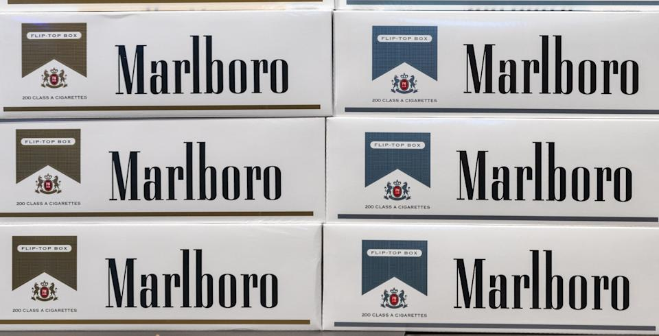ORLANDO, FLORIDA, UNITED STATES - 2019/07/19: Two varieties of Marlboro cigarettes as shown in  a retail store in the city. The brand is owned by Philip Morris USA  and it is the most sold cigarette since 1972. (Photo by Roberto Machado Noa/LightRocket via Getty Images)