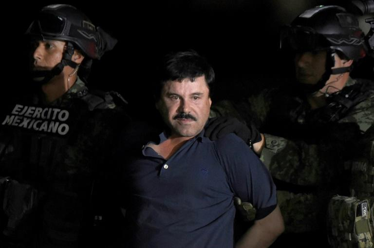 "Former drug kingpin Joaquin ""El Chapo"" Guzman, pictured in January 2016 following his recapture, faces sentencing for flooding the United States with tons of cocaine, marijuana and other drugs over a quarter century (AFP Photo/ALFREDO ESTRELLA)"