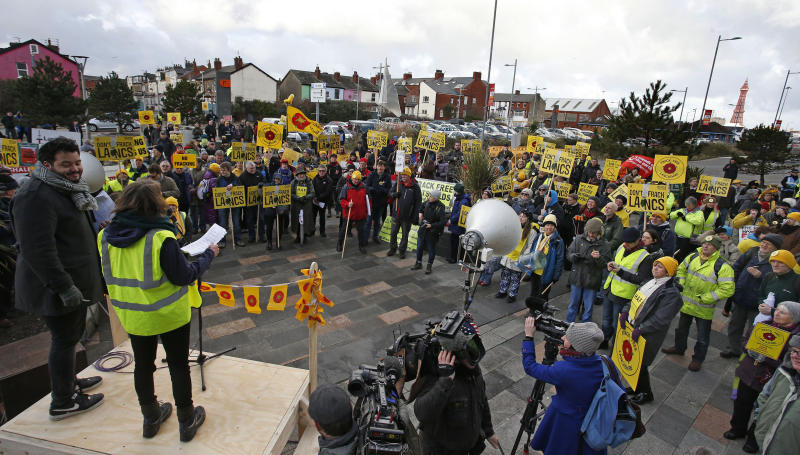 Anti-fracking protestors outside Bloomfield Road, the home of Blackpool football club in Lancashire, where the Planning Inspectorate inquiry was due to begin into the decision last June by Lancashire county councillors to reject proposals by energy firm Cuadrilla for exploratory drilliing for shale gas at two sites in Roseacre and Little Plumpton.