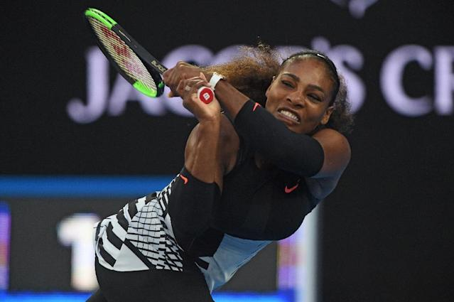 Serena Williams during this year's Australian Open final (AFP Photo/PAUL CROCK )