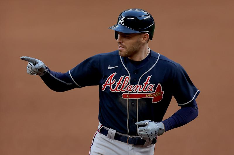 Freddie Freeman led the Braves to another win and a 2-0 lead over the Dodgers in the National League Championship Series. (Photo by Ronald Martinez/Getty Images)