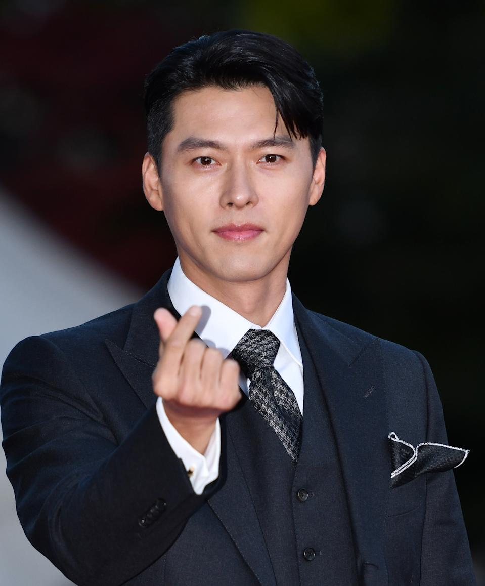 SEOUL, SOUTH KOREA - October 28: Actor Hyun-Bin during a red carpet event of 2020 Korean Popular Culture and Art Awards at Kyunghee University Peace Hall on October 28, 2020 in Seoul, South Korea. (Photo by The Chosunilbo JNS/Imazins via Getty Images)