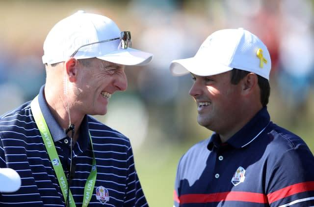Team USA captain Jim Furyk (left) and Patrick Reed were all smiles before their relationship soured after the 2018 Ryder Cup (Adam Davy/PA)