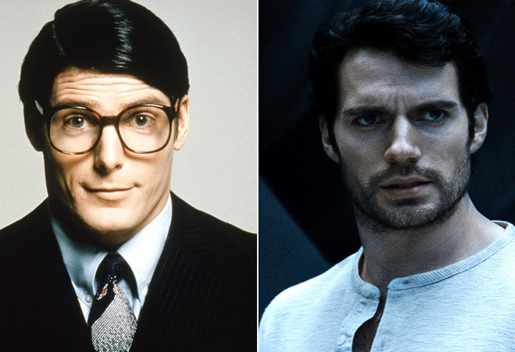 """<b>CLARK KENT</b><br>Talk about night and day! <a href=""""http://movies.yahoo.com/person/christopher-reeve/"""">Christopher Reeve</a> sports the """"classic"""" Clark look with eyeglasses and proper Daily Planet dress code. Henry Cavill, meanwhile, is in need of a shave ... and, come to think of it, does he even wear glasses at all in """"Man of Steel""""?"""