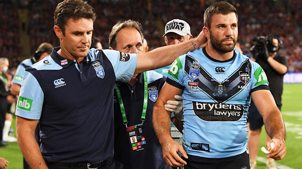 James Tedesco, pictured here after being heavily concussed in the State of Origin decider.