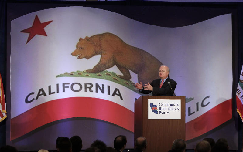 """Republican strategist Karl Rove speaks at a luncheon at the California Republican Party convention, in Sacramento, Calif., Saturday, March 2, 2013. Rove told California Republicans to """"get off the mat"""", and to find candidates to reflect the party's diversity. (AP Photo/Rich Pedroncelli)"""
