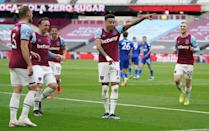 Two good: Jesse Lingard (2nd right) scored twice as West Ham beat Leicester 3-2