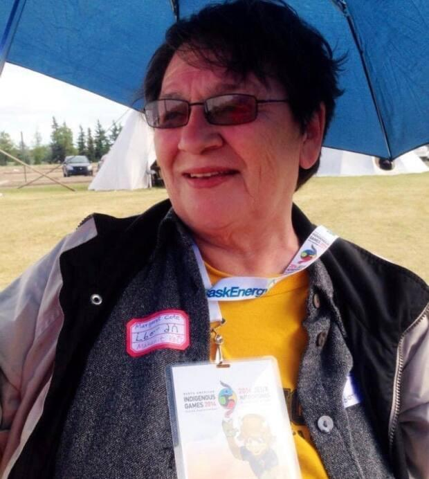 Margaret Cote at North American Indigenous games in 2014. She volunteered at many community events in Regina and surrounding communities.