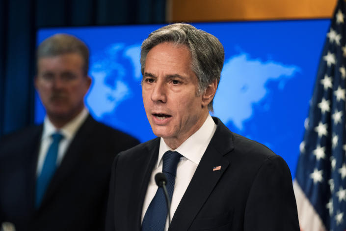 Secretary of State Antony Blinken speaks about the release of the 2021 Congressional Report Pursuant to the Elie Wiesel Genocide and Atrocities Prevention Act at the State Department in Washington, Monday, July 12, 2021. (AP Photo/Manuel Balce Ceneta, Pool)