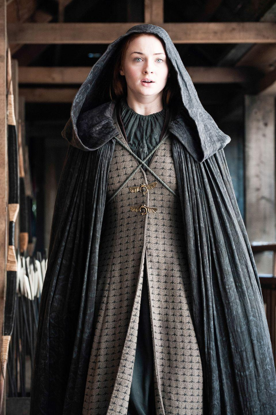 <p>When she escapes Winterfell, Sansa wears an outfit that looks like something taken from her mother, Catelyn's, closet. That's fitting, since the strength it takes to make a break for it is very reminiscent of the late Stark matron. </p>