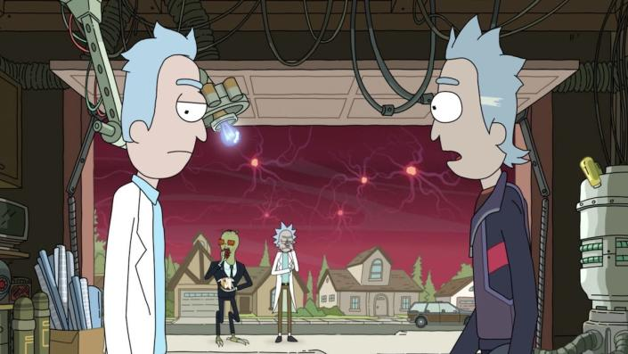 A Rick in a suit pleads with a young Rick in his labcoat in the garage whole Rick and Gromflomite look on from the driveway