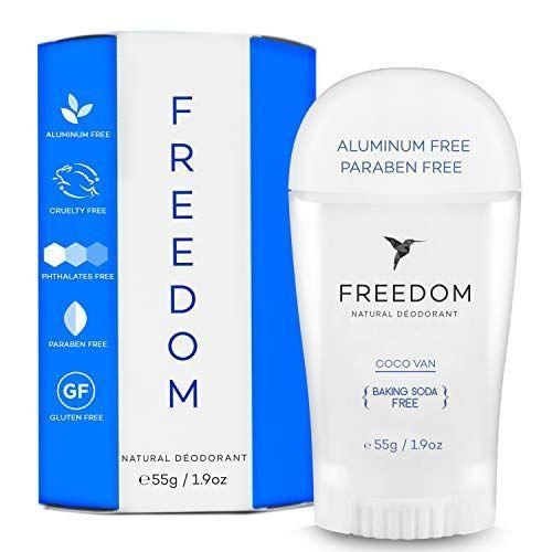 """<p><strong>Freedom</strong></p><p>amazon.com</p><p><strong>$14.99</strong></p><p><a href=""""https://www.amazon.com/dp/B07V57VN8Z?tag=syn-yahoo-20&ascsubtag=%5Bartid%7C10055.g.37003869%5Bsrc%7Cyahoo-us"""" rel=""""nofollow noopener"""" target=""""_blank"""" data-ylk=""""slk:Shop Now"""" class=""""link rapid-noclick-resp"""">Shop Now</a></p><p>While this deodorant has a light scent, it's completely natural — there are no synthetic fragrances added. It also has <strong>no aluminum, parabens or baking soda, making it suitable for everyone</strong>. Beauty Director April Franzino doesn't typically use natural deodorants, but if she does, she goes for this one, since it doesn't feel sticky or irritate her skin.</p>"""