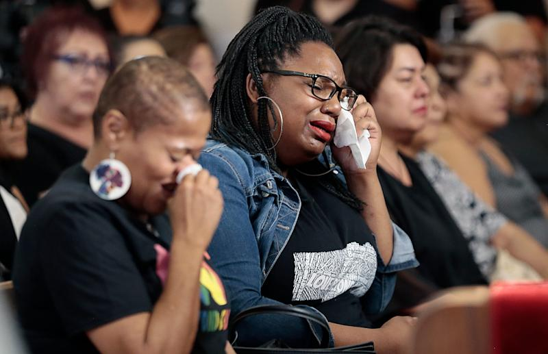 Family of Margie Reckard react after arriving at La Paz Faith Center in El Paso, Texas, for her services Friday, Aug. 16, 2019. Reckard was one of the 22 killed people in the mass shooting at Walmart on Aug. 3, 2019.