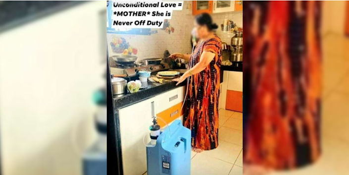 The photograph of a woman cooking in the kitchen while being on oxygen support that was shared on social media (Face has been blurred for purposes of dignity).