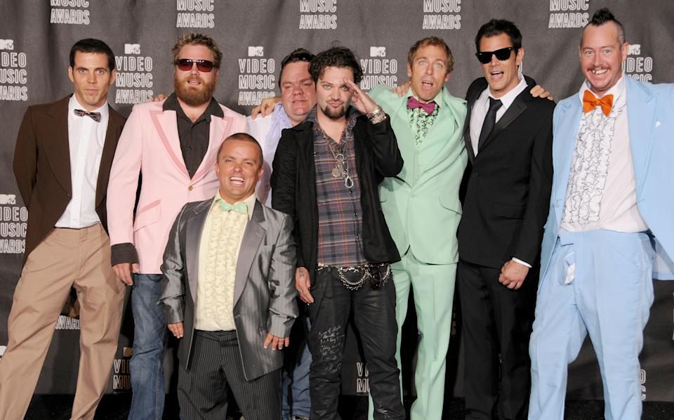 Steve-O, Wee Man, Ryan Dunn, Preston Lacy, Bam Marjera, Dave England, Johnny Knoxville and Ehren McGhehe of Jackass pose in the press room at the 2010 MTV Video Music Awards at the Nokia Theatre on September 13, 2010 in Los Angeles, CA.  (Photo by Gregg DeGuire/FilmMagic)