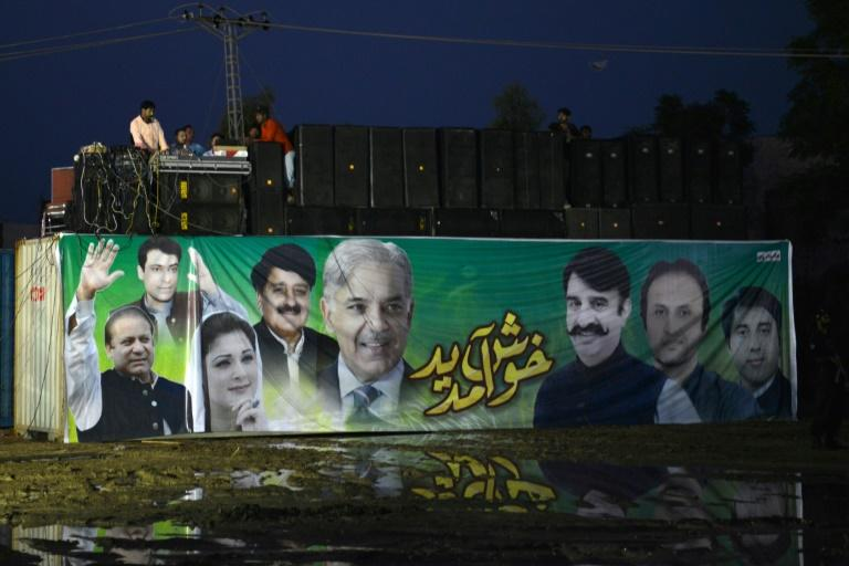 A DJ performs during an election campaign rally by Shahbaz Sharif, the younger brother of ousted Pakistani Prime Minister Nawaz Sharif