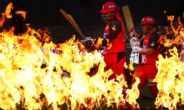 """<span class=""""element-image__caption"""">Let the fireworks begin: Chris Gayle and Aaron Finch head out to open for the Melbourne Renegades against the Perth Scorchers in the 2015-16 Big Bash League.</span> <span class=""""element-image__credit"""">Photograph: Scott Barbour/Getty Images</span>"""