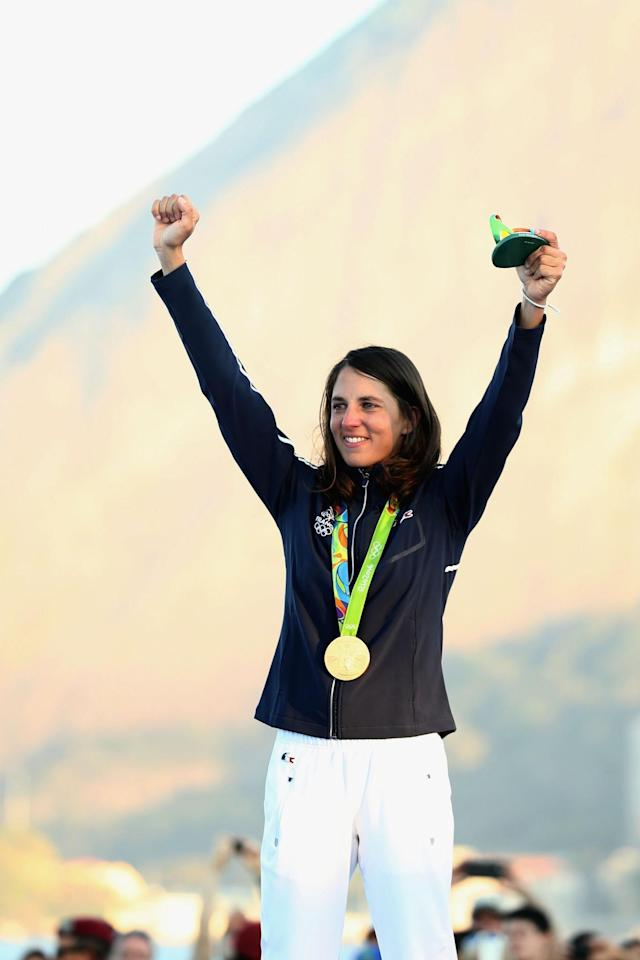 <p>Charline Picon of France celebrates on the podium after winning the gold medal in the Women's RS:X class on Day 9 of the Rio 2016 Olympic Games at the Marina da Gloria on August 14, 2016 in Rio de Janeiro, Brazil. (Photo by Mark Kolbe/Getty Images) </p>