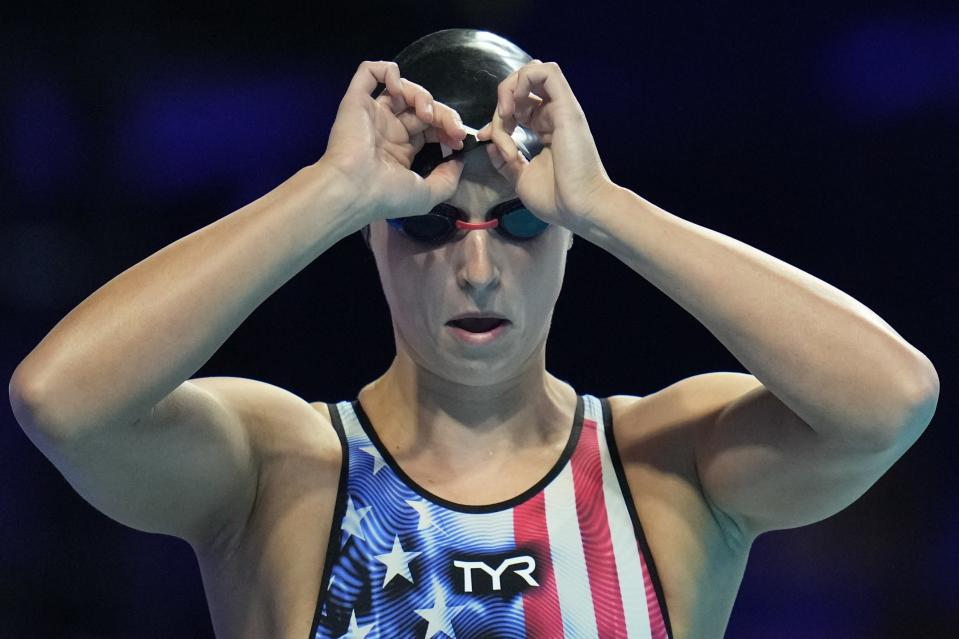Katie Ledecky participates in the Women's 400 Freestyle during wave 2 of the U.S. Olympic Swim Trials on Monday, June 14, 2021, in Omaha, Neb. (AP Photo/Jeff Roberson)