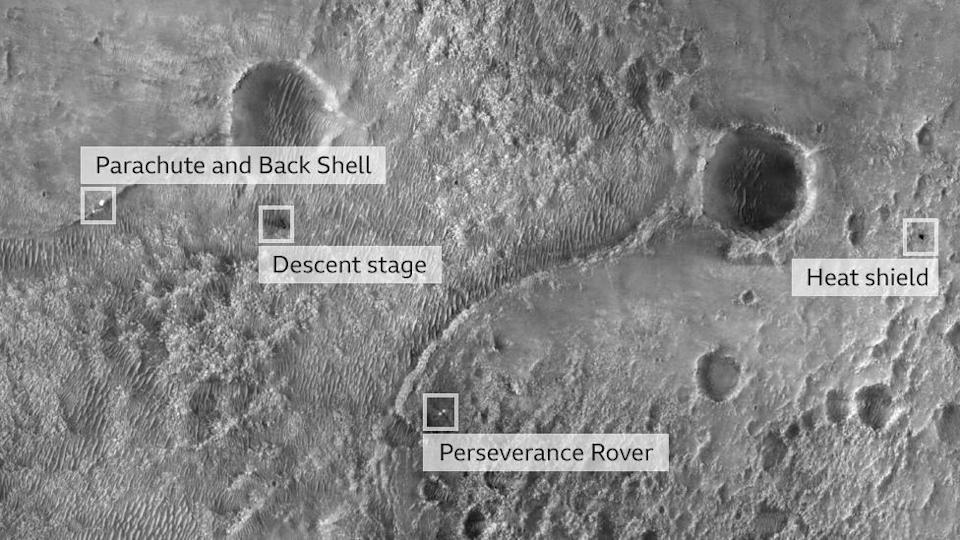 First image taken from the High Resolution Imaging Experiment camera aboard Nasa's Perseverance Rover on the surface of Mars (19 February 2021)