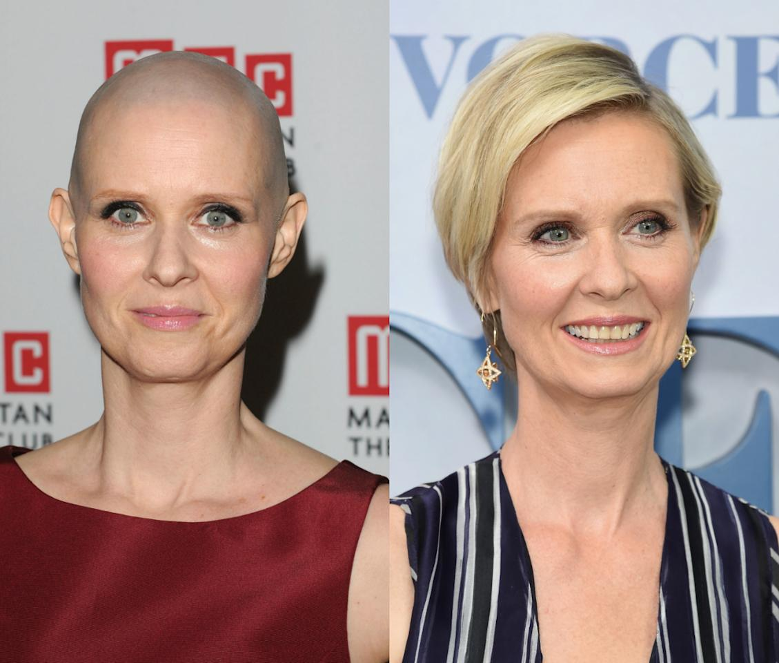 <p>The 'Sex In The City' actress shaved her head in 2012 to play the role of a cancer patient in a play. <i>[Photo: Getty]</i></p>