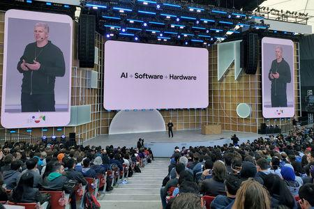 Rick Osterloh discusses new devices  during the Google I/O developers conference in Mountain View