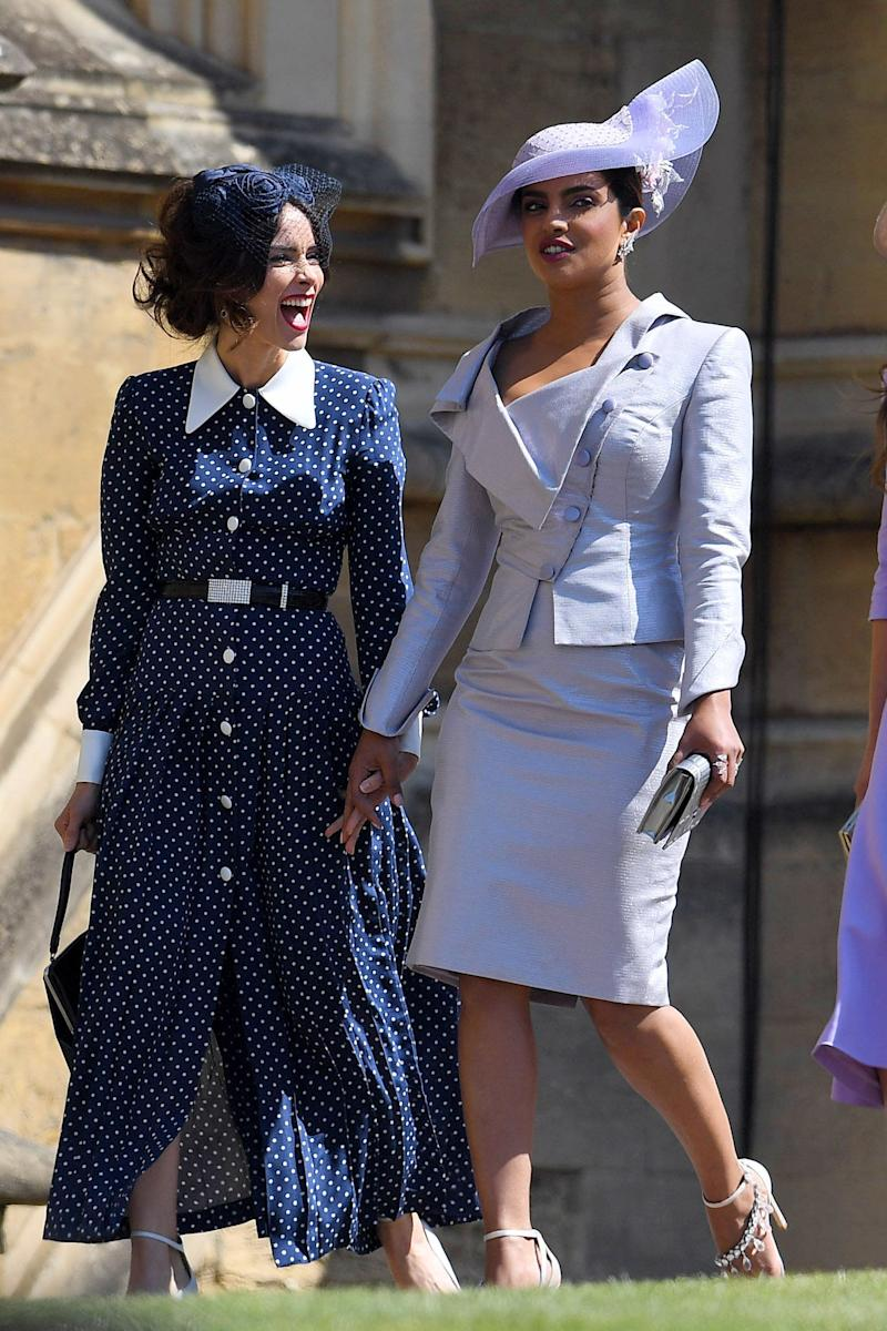 The India-born actress is one of Meghan's most famous friends, so it was a dead cert that she would be at the wedding, where she made her way in with the cast of 'Suits'.<br /><br />Here she is with&nbsp;Abigail Spencer who, incidentally, could probably teach Victoria Beckham a thing or two about how to enjoy oneself at a wedding.