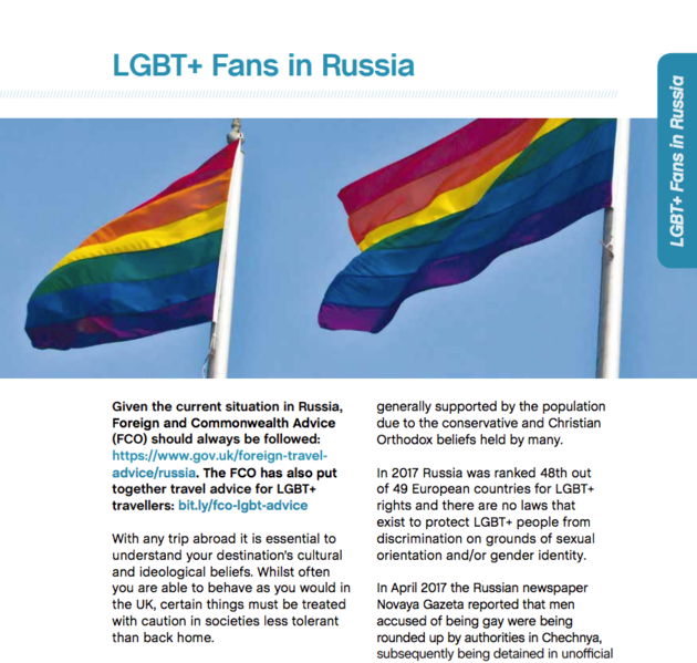 The Football Supporters' Federation has put together advice for LGBT+ fans