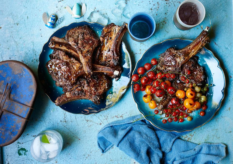 "Rib chops can be pricey. This same preparation works well on lamb loin chops, too. <a href=""https://www.bonappetit.com/recipe/lamb-chops-scottadito-with-charred-cherry-tomatoes?mbid=synd_yahoo_rss"" rel=""nofollow noopener"" target=""_blank"" data-ylk=""slk:See recipe."" class=""link rapid-noclick-resp"">See recipe.</a>"