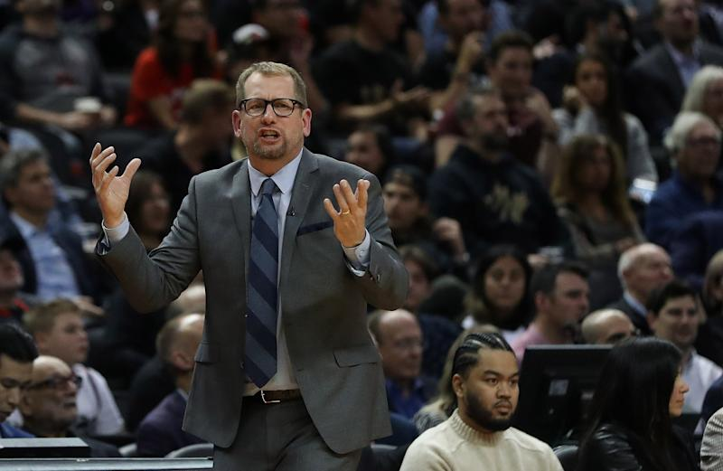 Toronto Raptors head coach Nick Nurse was upset about the officiating following his team's loss to the Boston Celtics. (Steve Russell/Toronto Star via Getty Images)