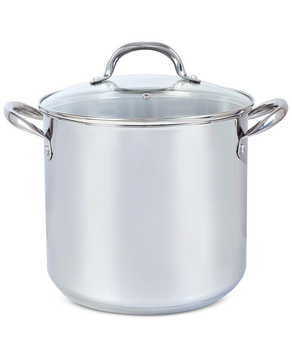 """If you're cooking for more than just two, you could get this stock pot, which is meant for big batches of seafood or corn on the cob. It's made of stainless steel and has a glass lid.<a href=""""https://fave.co/2SThq3p"""" target=""""_blank"""" rel=""""noopener noreferrer"""">Originally $120, get it now for $40 at Macy's</a>."""