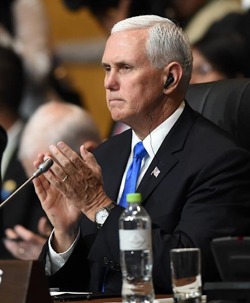 """US Vice President Mike Pence, representing America at the Summit of the Americas in Peru, said Venezuela's May 20 presidential election is a """"sham"""" (AFP Photo/Luka GONZALES)"""