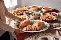 """<p>This year, Cracker Barrel is offering a <a href=""""https://crackerbarrel.com/catering/heat-n-serve/entrees/heat-n-serve-roasted-turkey-breast-serves-4-6"""" rel=""""nofollow noopener"""" target=""""_blank"""" data-ylk=""""slk:heat-and-serve roast turkey breast"""" class=""""link rapid-noclick-resp"""">heat-and-serve roast turkey breast</a> (serves 4 to 6; $34.99). You can add individual sides and pies or order the complete <a href=""""https://crackerbarrel.com/catering/heat-n-serve/holiday-offerings/thanksgiving-heat-n%E2%80%99-serve-feast"""" rel=""""nofollow noopener"""" target=""""_blank"""" data-ylk=""""slk:Thanksgiving heat-and-eat feast"""" class=""""link rapid-noclick-resp"""">Thanksgiving heat-and-eat feast</a>, which includes two turkey breasts, dressing, gravy, cranberry relish, three sides, yeast rolls, and pumpkin and pecan pies. It simply could not be easier (or more delicious!). </p>"""