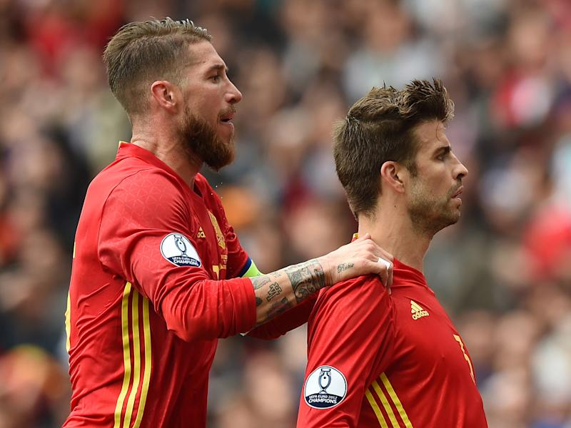 Sergio Ramos and Gerard Pique's intriguing working relationship forces them to be international partners but club football enemies: Getty