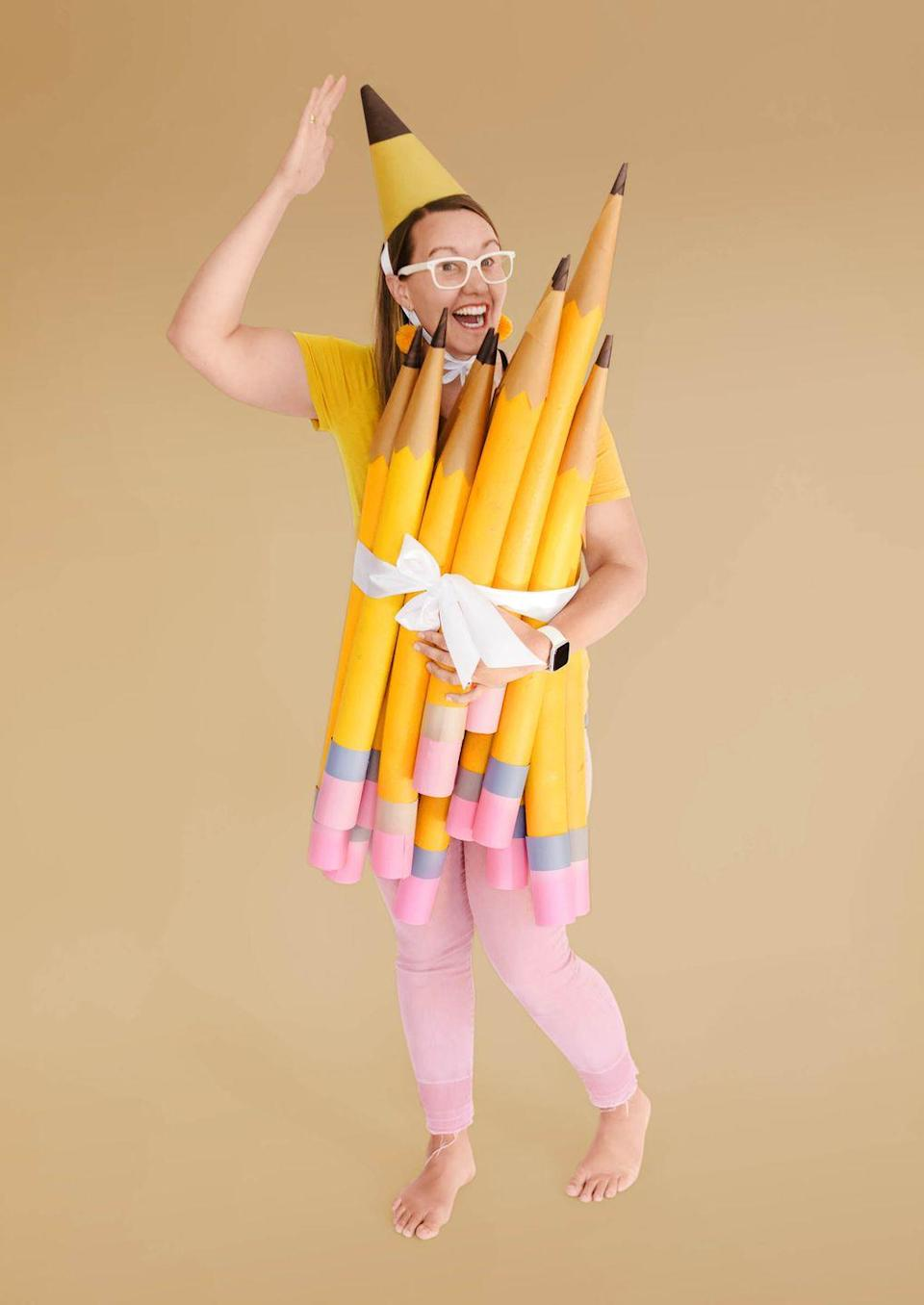 """<p>This costume will have you lookin' sharp!</p><p>Make the costume: Round up some pool noodles. Coat the summer staple with yellow spray paint (try Rust-Oleum American Accents in Marigold); add brown paper-cone tips. Wrap ends with pink and gray craft paper to make erasers. Secure the bundle around yourself with ribbon. Extra credit for a corresponding pointy party hat.</p><p><strong>Get the tutorial at <strong><a href=""""https://ohyaystudio.com/a-bouquet-of-newly-sharpened-pencils-costume-and-how-much-i-love-youve-got-mail/"""" rel=""""nofollow noopener"""" target=""""_blank"""" data-ylk=""""slk:Oh Yay Studio"""" class=""""link rapid-noclick-resp"""">Oh Yay Studio</a></strong>.</strong></p><p><a class=""""link rapid-noclick-resp"""" href=""""https://www.amazon.com/Oodles-Noodles-Deluxe-Foam-Pool/dp/B01LBEX84S/ref=sr_1_1_sspa?tag=syn-yahoo-20&ascsubtag=%5Bartid%7C10050.g.4571%5Bsrc%7Cyahoo-us"""" rel=""""nofollow noopener"""" target=""""_blank"""" data-ylk=""""slk:SHOP POOL NOODLES"""">SHOP POOL NOODLES</a></p>"""