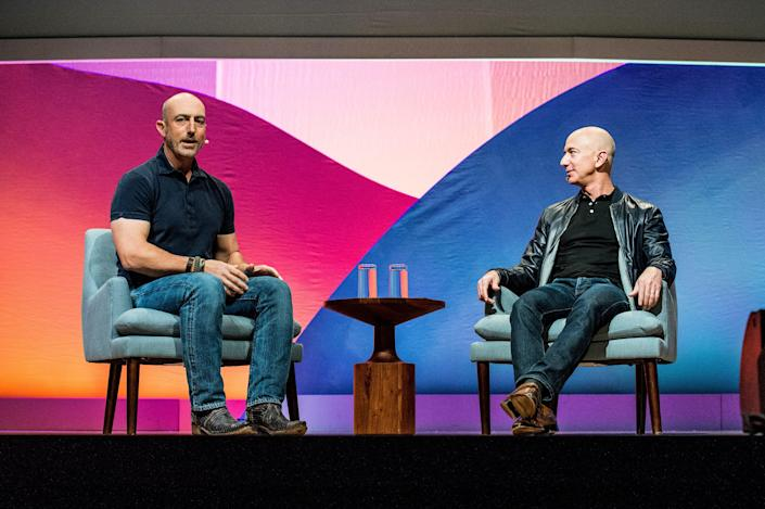 Mark, left, and Jeff, the space-bound Bezos brothers, plan to boldly go, etc.
