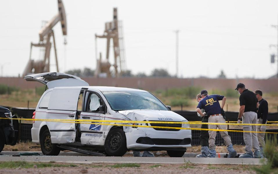 The gunman at one point hijacked a US Postal Service van before he was shot and killed by police - Odessa American