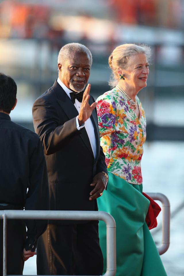 AMSTERDAM, NETHERLANDS - APRIL 30: Kofi Annan and Maria Anna arrive at the Muziekbouw following the water pageant after the abdication of Queen Beatrix of the Netherlands and the Inauguration of King Willem Alexander of the Netherlands on April 30, 2013 in Amsterdam, Netherlands. (Photo by Chris Jackson/Getty Images)