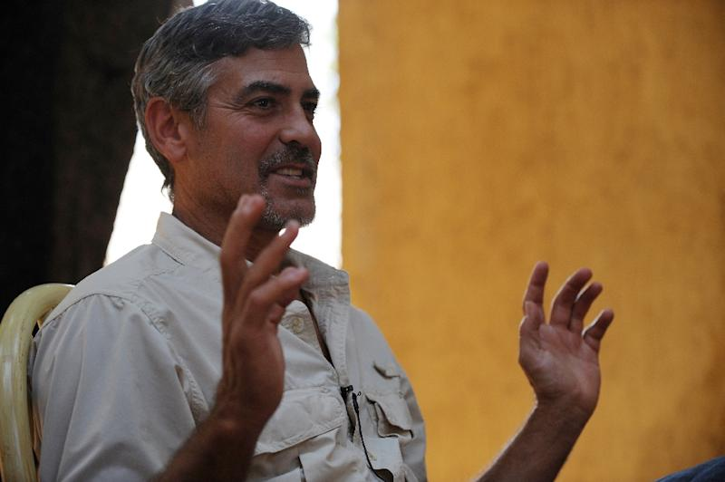 US actor George Clooney speaks about South Sudan during an interview with AFP at a hotel in Juba on January 8, 2011 (AFP Photo/Roberto Schmidt)