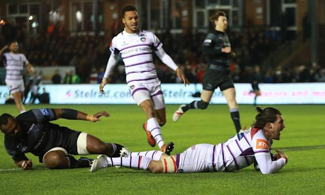Guy Thompson scores one of his two tries in Leicester's win at Newcastle.
