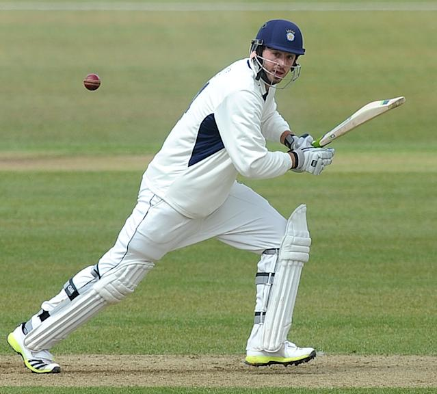 SOUTHAMPTON, ENGLAND - APRIL 11: James Vince of Hampshire plays a shot during day two of the LV County Championship match between Hampshire and Leicestershire at The Ageas Bowl on April 11, 2013 in Southampton, England. (Photo by Charlie Crowhurst/Getty Images)
