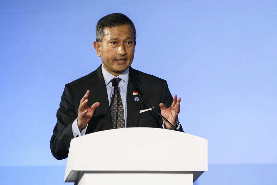 Singapore's Foreign Minister Vivian Balakrishnan delivers his speech during the opening ceremony of the 51st ASEAN Foreign Ministers Meeting in Singapore, Thursday, Aug. 2, 2018. (AP Photo/Yong Teck Lim)