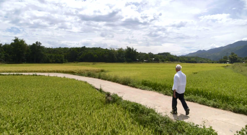 In an image provided by ESPN from video, Rocky Bleier walks in Hiep Duc Valley, about 35 miles (56 kilometers) south of Danang in Vietnam, on Aug. 20, 2018. Three months into his deployment to Vietnam, Bleier was shot through the thigh and suffered a grenade blast to his foot. Doctors told him that hed never play football again. Steelers owner Art Rooney supported Bleier by placing him on injured reserve rather than cutting him from the team. Bleier then defied the odds, returning to football as a star running back on the Steel Curtain Steelers teams of the 1970s and becoming the only war veteran to have four Super Bowl rings. (ESPN via AP)