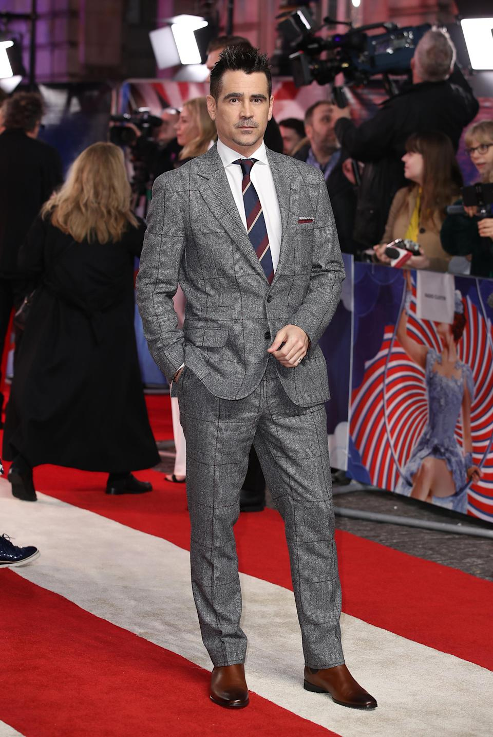 <p>On March 21, the actor wore a Brunello Cucinelli suit to attend the 'Dumbo' premiere in London. <em>[Photo: Getty]</em> </p>