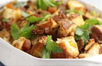 """<p>Stuffing is the star of the sides during Thanksgiving, but that doesn't mean it needs to be made day of. Show off <a href=""""https://www.theactivetimes.com/home/learn-new-hobby-at-home-guitar-language?referrer=yahoo&category=beauty_food&include_utm=1&utm_medium=referral&utm_source=yahoo&utm_campaign=feed"""" rel=""""nofollow noopener"""" target=""""_blank"""" data-ylk=""""slk:your cooking skills"""" class=""""link rapid-noclick-resp"""">your cooking skills</a> with this recipe that's made with sliced sweet bread, parsley and dried apricots.</p> <p><a href=""""https://www.thedailymeal.com/recipes/kings-hawaiian-sweet-bread-stuffing-recipe?referrer=yahoo&category=beauty_food&include_utm=1&utm_medium=referral&utm_source=yahoo&utm_campaign=feed"""" rel=""""nofollow noopener"""" target=""""_blank"""" data-ylk=""""slk:For the Sweet Bread Stuffing recipe, click here."""" class=""""link rapid-noclick-resp"""">For the Sweet Bread Stuffing recipe, click here.</a></p>"""