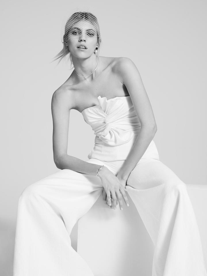 <p>A wedding jumpsuit can be yours. <i>(Photo: Courtesy of Fame and Partners)</i> </p>