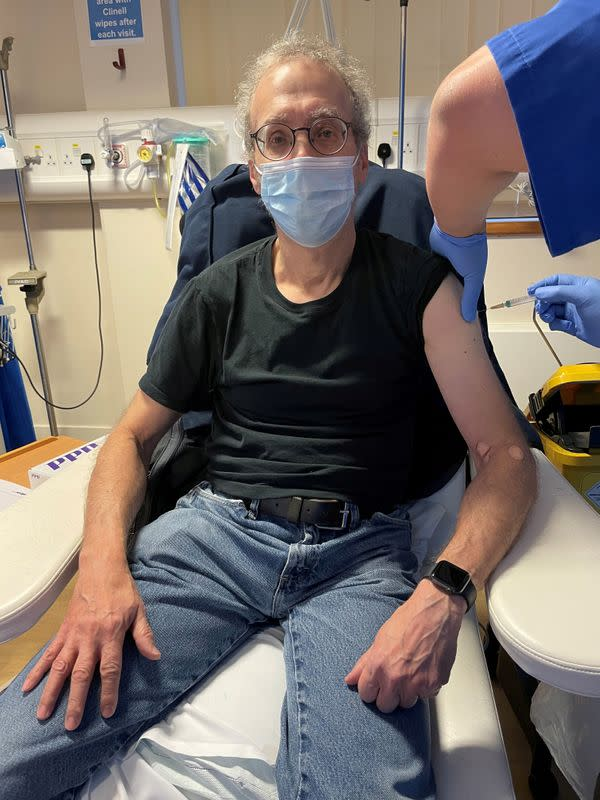 FILE PHOTO: Reuters journalist Steve Stecklow participates in a clinical trial of the experimental Novavax COVID-19 vaccine in London