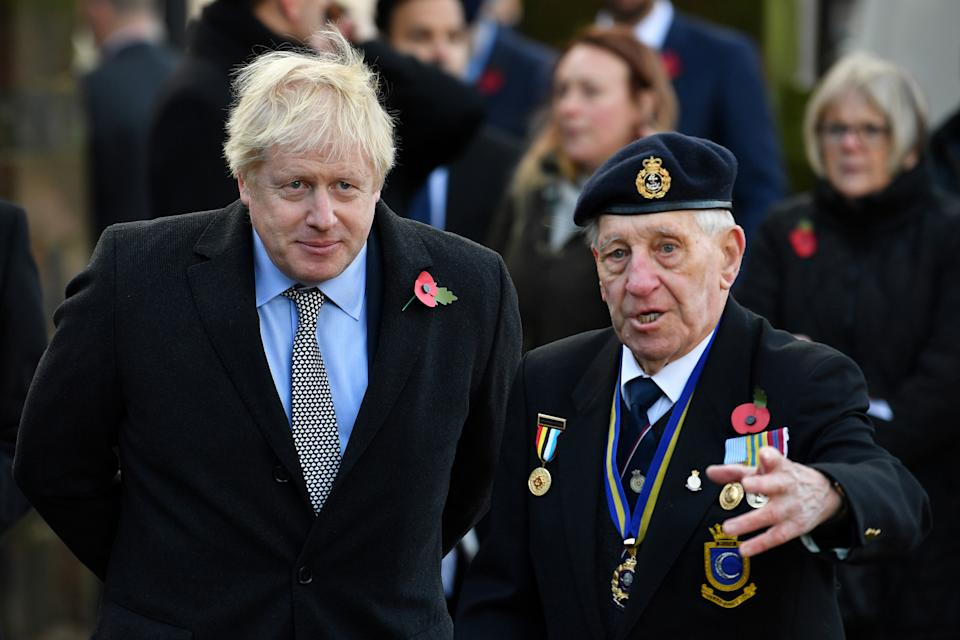 Britain's Prime Minister Boris Johnson attends a remembrance service on Armistice Day, the anniversary of the end of the First World War in 1918, in Wolverhampton, Britain, November 11, 2019. Ben Stansall/Agencja Gazeta via REUTERS